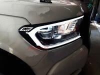 FORD RANGER T6 WILDTRAK MK2 WHITE LED FRONT HEAD LIGHT LAMP COVER TRIM 2015-2017