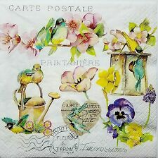 SPRING CARTE POSTAL 2 single LUNCH SIZE paper napkins for decoupage 3-ply