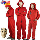 Salvador Dali La Casa De Papel Costume Money Heist Jumpsuit Mask Fancy CosplayAU