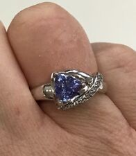 0.96ct Trillion Cut Tanzanite & Diamond Silver Ring Size P Brand New in Box