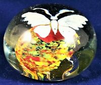 Glass Paperweight Butterfly Art Handmade Vintage White Blue Yellow Red Work Gift