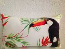 Toucan Outdoor Indoor Tropical Bird Leaf Lumbar Retro Cushion Cover