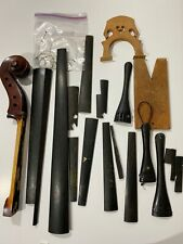 Vintage Lot of Wooden Violin Cello Bass Instrument Tailpiece Tuner Parts Salvage