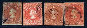 CHILE 5c EARLY ISSUE 4 STAMPS (SHADES) FINE USED LOT.   B421
