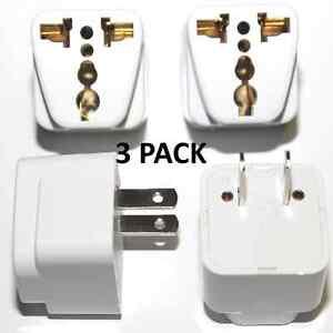 X3 Universal EU UK AU to US USA AC Travel Power Plug Adapter Outlet Converter