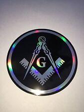 "Masonic Decal 3.5"" Logo FreeMason Car Black Freemasonry Sticker 3d feel"