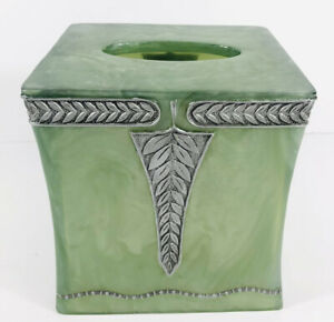 Marbled Acrylic Silver Leave Design Tissue Box Cover Holder Green