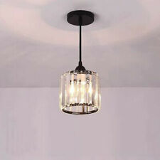 LED Ceiling Pendant Light Fixture Crystal Lampshade E27 Bulb Replaceable Circle