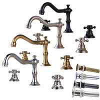 Widespread 3 Hole Bath Tub Basin Mixer Faucet 2 Handles Waterfall Brass Taps