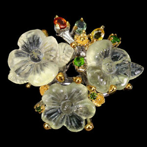AAA Hand Flower Carvings Green Amethyst 25ct Sapphire 925 Sterling Silver Ring 9