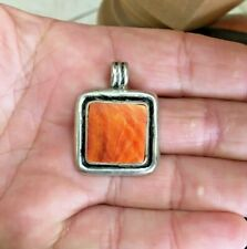 Vintage Sterling Silver And Orange Oyster Shell Necklace Pendant