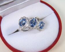 TANZANITE & WHITE SAPPHIRE RING 2.21 CTW #7  WHITE GOLD over 925 STERLING SILVER