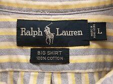 Mens Ralph Lauren Tall Lg Multi-color Horseman Button Down Shirt LS Oxford EUC