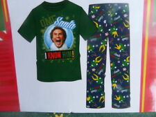 "New Men's L Buddy the Elf ""OMG Santa I Know Him!"" Tee & Lounge Pants Pajama Set"