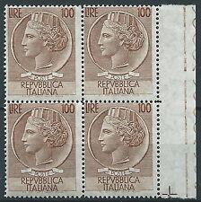 1955 ITALIA TURRITA 100 LIRE STELLE QUARTINA MNH ** - ED669