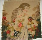 Antique needlepoint of lady and girl with flowers