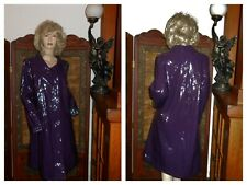 L Dennis Basso Shiny Purple Vinyl Raincoat PVC Rain Jacket Patent Trench Coat