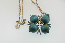 VTG STAMPED AARIKKA FINLAND SILVER PLATED NECKLACE w/5 WOODEN TEAL BALLS PENDANT