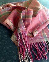 Mulberry Scarf Ancient tartan Thin Wool Red Teal Rust Aubergine Purple Tweed