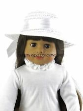 White Straw Ribbon Hat 18 in Doll Clothes Fits American Girl