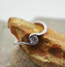 925 Silver Plated Twisted Crystal Solitaire Ring / Pinkie Ring, Adjustable gift