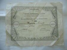 SCRIPOFILIA LOZZA VARESE UNIONE FAMIGLIARE COOPERATIVA AZIONE L.500 1949.