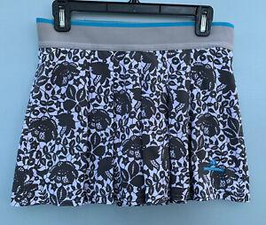 Adidas Stella McCartney Skort Medium Gray White Floral Lace Print Workout Skirt