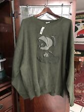 VINTAGE WARNER BROS MARVIN THE MARTIAN MEN'S GREEN SWEATER SIZE XXL RARE