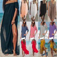 Women Off Shoulder Maxi Dress Summer Beach  Holiday Swimwear Cover Up Kaftan