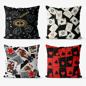 Gambling Poker Art 4 Pieces Two Sides Printed Cushion Pillow Case Cover