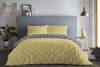 Fusion Brooklyn Geometric Reversible Duvet/Quilt Cover Bedding Set Ochre/Black
