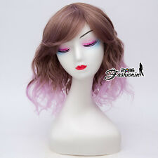 Ombre 35CM Medium Curly Mixed Purple Women Cosplay Harajuku Party Wig + Wig Cap