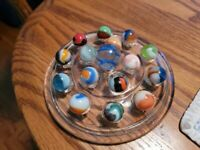 SIXTEEN Vintage 3 Colored Swirled Marbles-3 Sizes-All Pre-1970-1 Spider Shooter