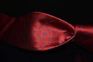 LNWOT Robert Talbott Monterey Thick Woven Cherry Red Satin Stripe Spot Silk Tie