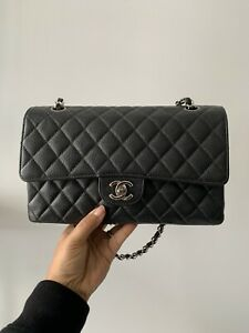 Chanel Classic Black Quilted Caviar Medium Double Flap Bag