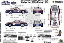 [FFSMC Productions] Decalcomanie 1/43 Porsche SCRS Rally delle 1000 Tracce 1984