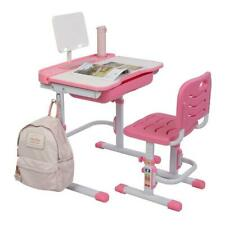 Children Desk and Chair Set Height Adjustable Kids Study Drawing Play Table Pink