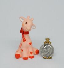 Vintage Hallmark Pink Giraffe with Hearts Stuffed Animal Miniature