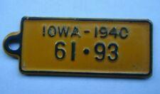 JE 1940 BRASS IOWA GOODRICH TIRE BATTERY license plate KEYCHAIN TAG 61-93