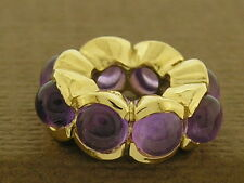 Bd084- Gorgeous Genuine 9ct Yellow Gold NATURAL Amethyst cabochon Bead Charm