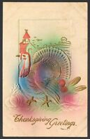 Vintage Embossed Turkey Thanksgiving Greetings Postcard