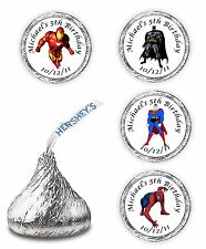 108 PERSONALIZED SUPERMAN BATMAN SPIDERMAN OR IRONMAN BIRTHDAY LABELS STICKERS