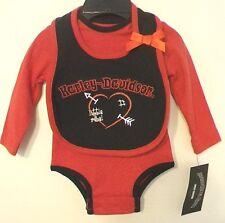Harley Davidson Motorcycle Creeper w/ Bib Little Girls Rebel Club New Red 0/3mon