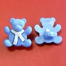 15 Little Teddy Bear Novelty Kid Sewing Scrapbooking Buttons Purple Blue K732