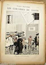 ESTAMPE 19è G ROCHEGROSSE Départ tableaux Paris Illustré 1885 COULISSES du SALON