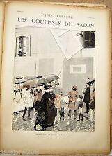 ESTAMPE 19è G ROCHEGROSSE Départ tableaux Paris Illustré 1885 COULISSES du SALON