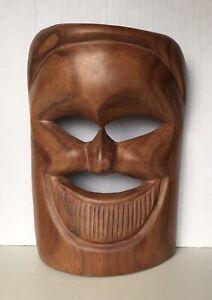 Vintage 21cm Hand Carved Wooden Timber Tribal Smiling Face Mask Sculpture