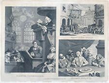 T Cook After Hogarth, Antique Engraving Sleeping Congregation and Columbus