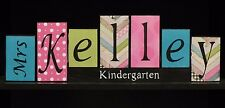 Teacher Name Letter Blocks Classroom Decor Teacher Wood Letter Sign Plaque Gift