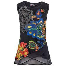 Desigual Damen Shirt Bluse Top floral Prints transparenter Lagen-Look A-Schnitt
